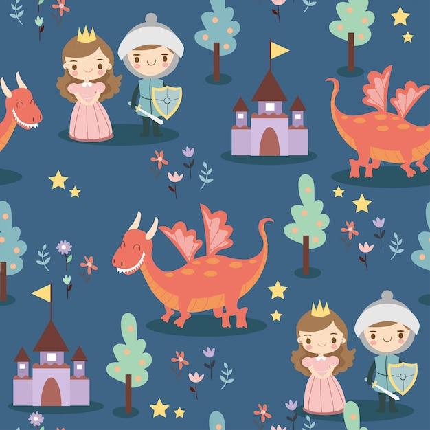 王子、王女、ドラゴンと花のパターン Premiumベクター