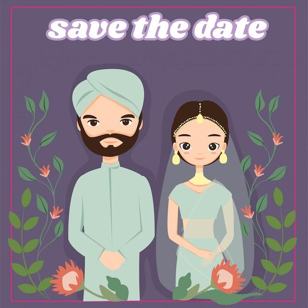 インドの結婚式の招待カード Premiumベクター