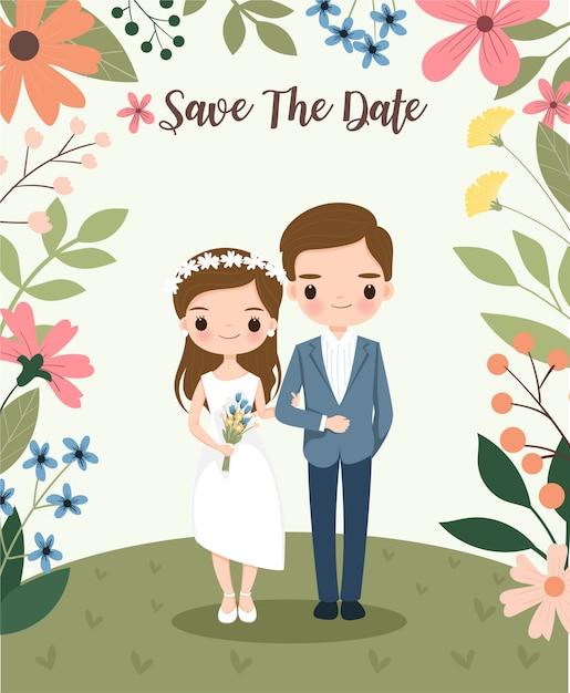 花の結婚式の招待カードにかわいい新郎新婦 Premiumベクター
