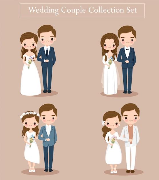 かわいい結婚式の新郎新婦のカップルは、結婚式の招待カードの設定 Premiumベクター