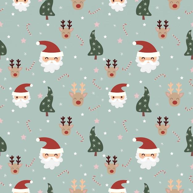 サンタとトナカイのクリスマス要素のシームレスなパターン Premiumベクター