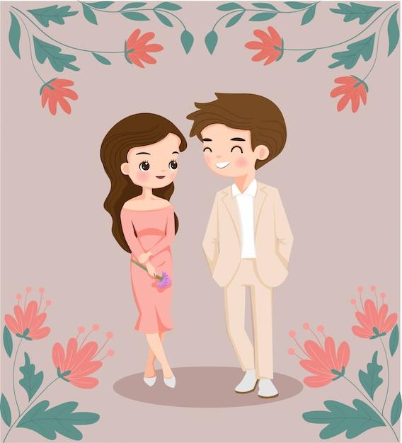 Милая пара, мужчина и женщина персонаж с цветочным декором Premium векторы