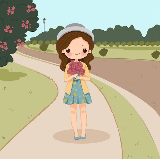 花の漫画のキャラクター、背景で分離されたベクトルとかわいい。 Premiumベクター