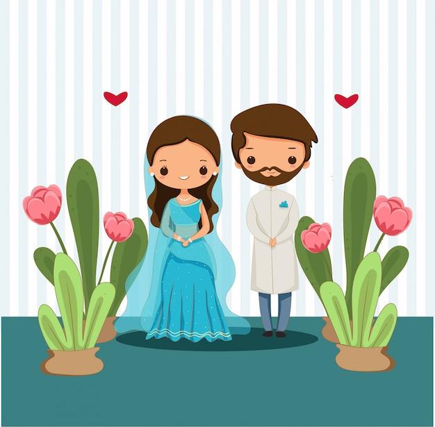 Симпатичная индийская пара в традиционном платье для свадебной иллюстрации Premium векторы