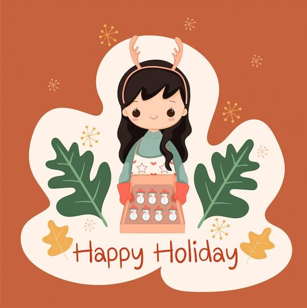 クリスマスと休日のイベントの雪だるまシュガークッキーを焼くかわいい女の子 Premiumベクター