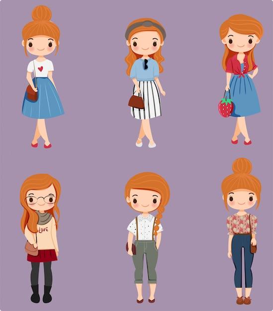 様々なファッションスタイルのかわいい女の子漫画のキャラクター Premiumベクター