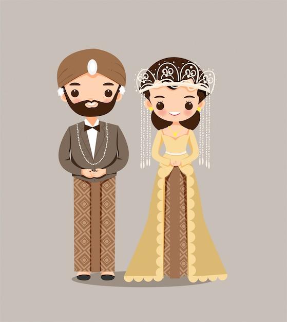 インドネシアの結婚式の招待状の新郎新婦のカップル Premiumベクター
