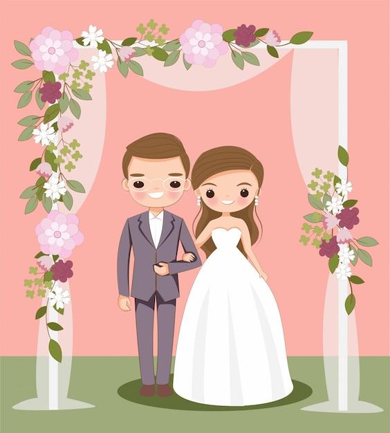 Милый мультфильм жениха и невесты на свадебные приглашения Premium векторы