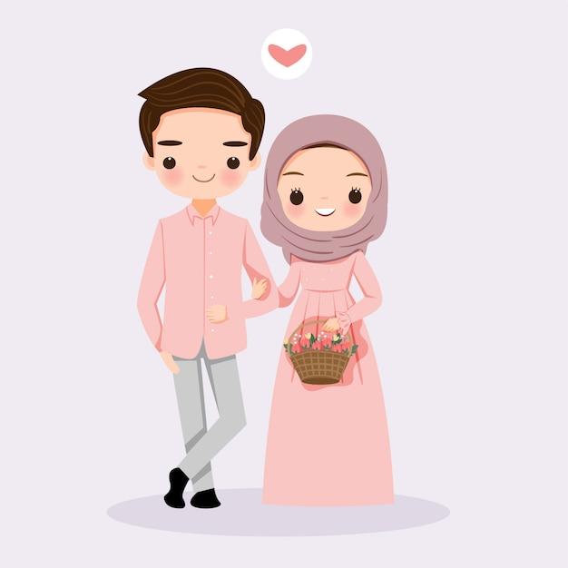 花とかわいいイスラム教徒のカップル Premiumベクター