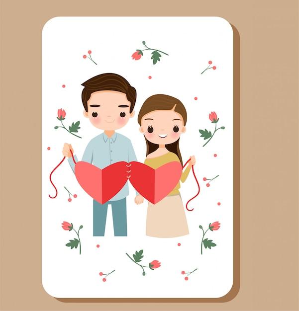 かわいい男の子と女の子のバレンタインの日に花との愛を示す Premiumベクター