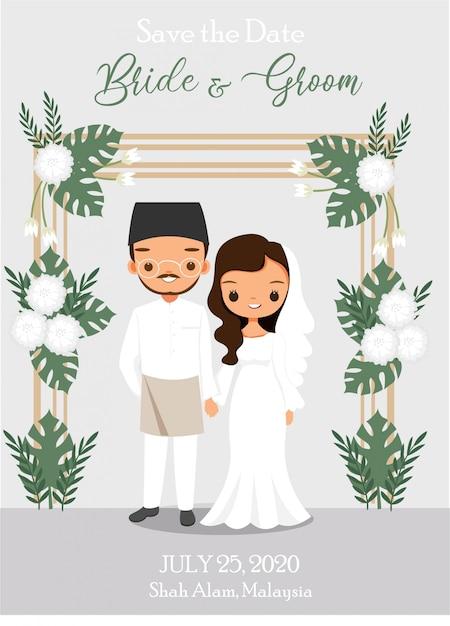 熱帯の花のアーチとかわいいマレーシアカップル漫画 Premiumベクター