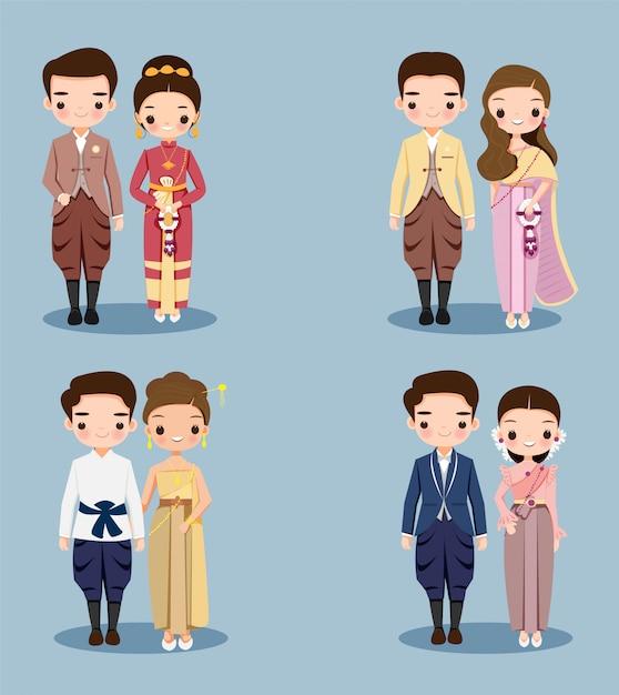 結婚式の招待カードのデザインの伝統的なドレスでかわいいタイカップル漫画 Premiumベクター