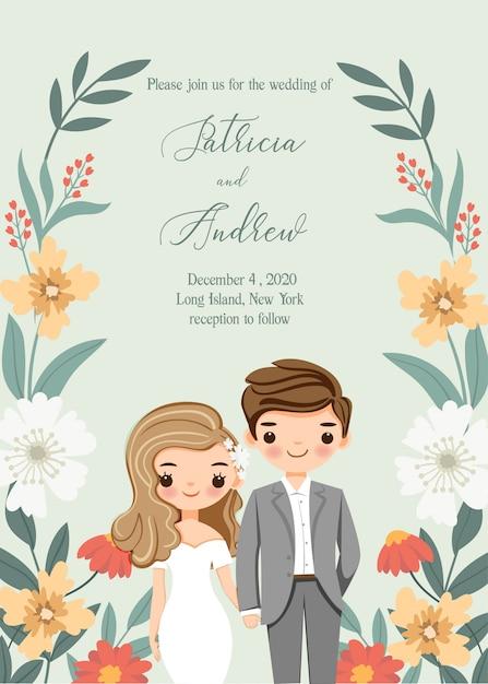 Симпатичные жених и невеста с цветком свадебные приглашения Premium векторы