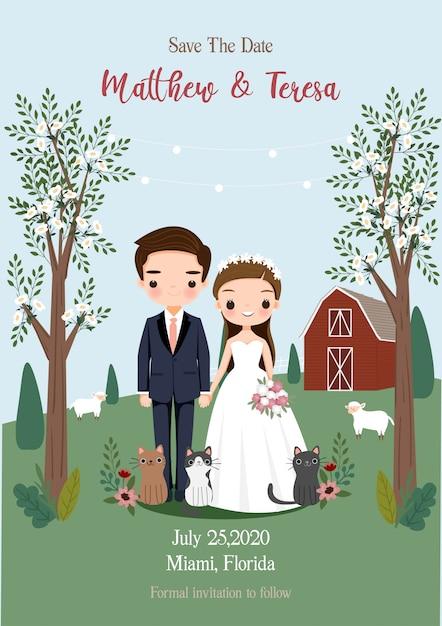 Жених и невеста, держа руку под деревом с деревенской ферме свадебный стиль пригласительный билет Premium векторы