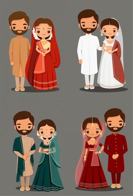 Симпатичная индийская пара мультфильм в традиционном платье для дизайна свадебного приглашения Premium векторы