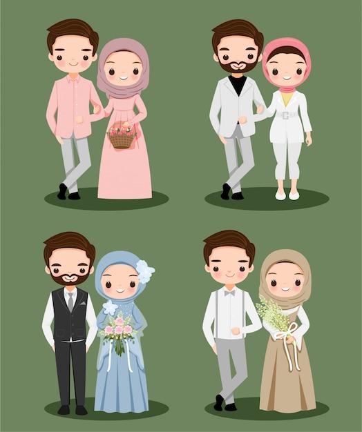 Симпатичные мусульманские пары носить хиджаб мультипликационный персонаж для свадьбы Premium векторы