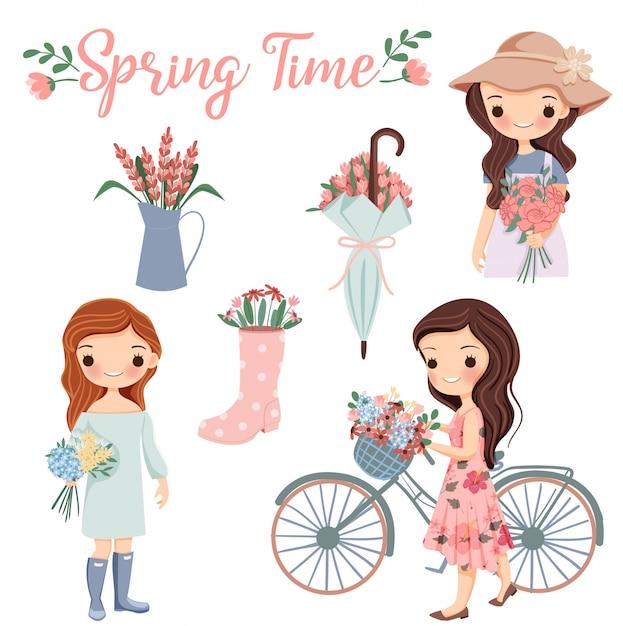 Симпатичная девушка-мультфильм с разнообразными цветами и элементами весеннего сезона. Premium векторы