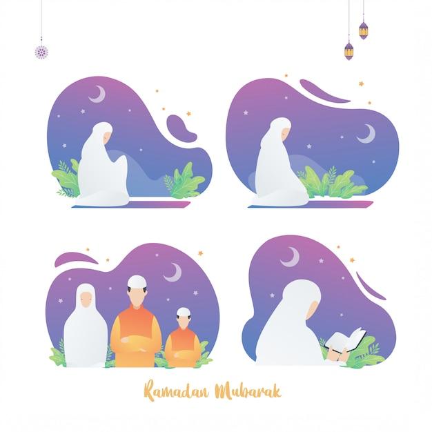 ラマダンイスラムポスターデザインイラスト、聖なる月のセットです。コーランを読んで一緒に祈るイスラム教徒の女性。 Premiumベクター