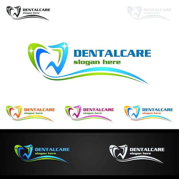 歯科ロゴ、歯科医の口腔科学ロゴ Premiumベクター
