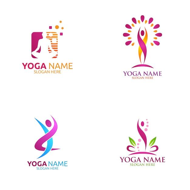 Логотип йоги и цветка лотоса с оздоровительным спа Premium векторы