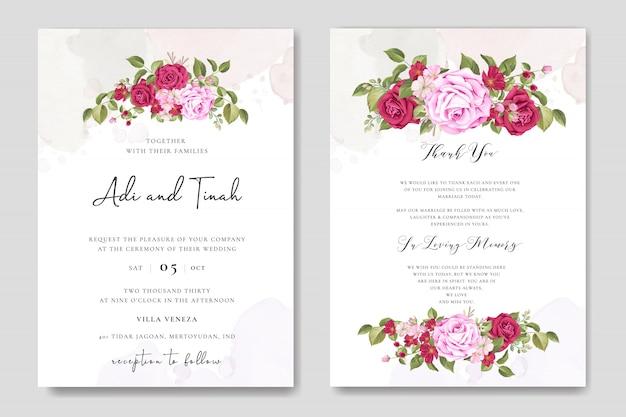 カラフルなあずき色のバラの美しい結婚式のカードテンプレート Premiumベクター