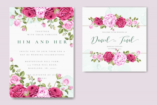 カラフルなバラのテンプレートと美しい結婚式の招待カード Premiumベクター