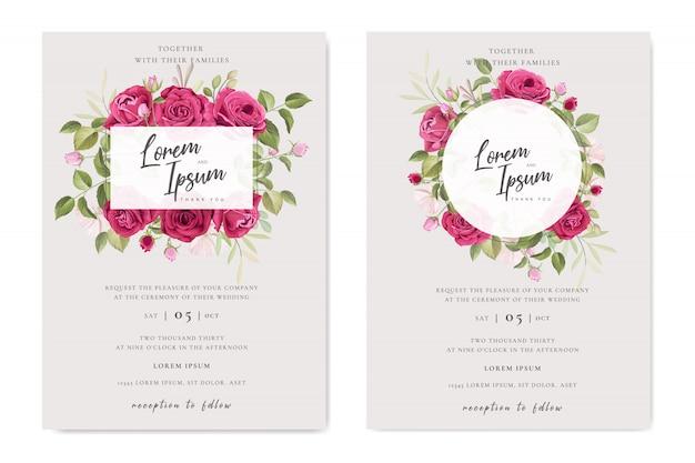 美しい結婚式のカード花のフレームテンプレート Premiumベクター