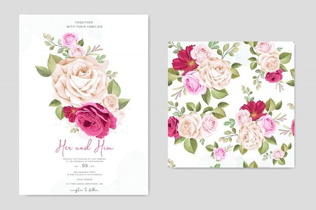花のフレームテンプレートと美しい結婚式の招待カード Premiumベクター