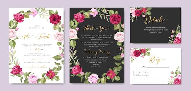 花と葉のフレームテンプレート結婚式招待状 Premiumベクター