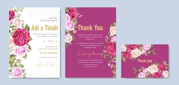 Элегантный шаблон свадебной открытки с красивым венком из роз Premium векторы