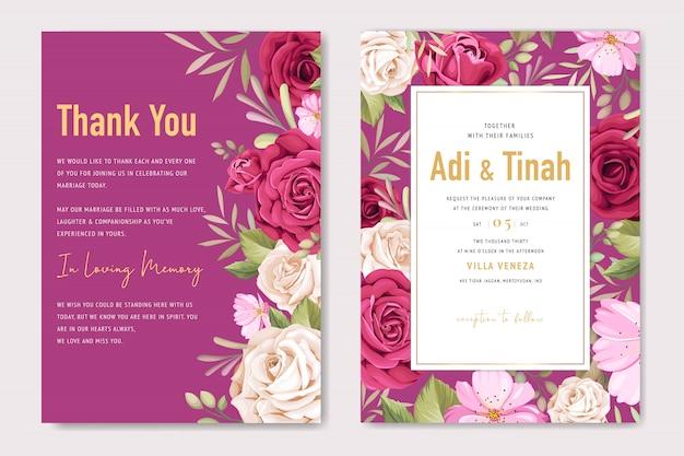 美しいバラの花輪を持つエレガントな結婚式のカードテンプレート Premiumベクター