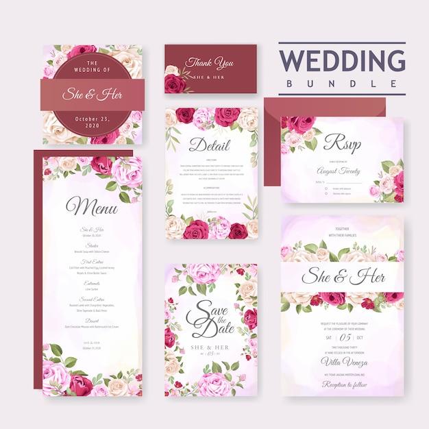 花と葉の背景テンプレートと美しいウェディングカード Premiumベクター