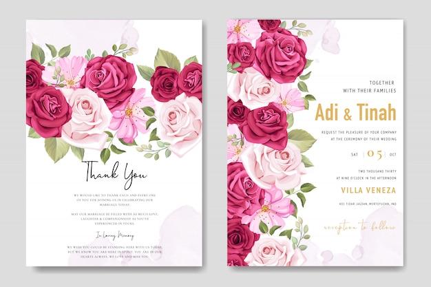 花の要素を持つ結婚式の招待カード Premiumベクター