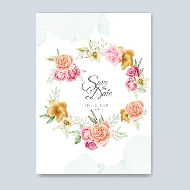 水彩花の結婚式の招待カードのテンプレート Premiumベクター