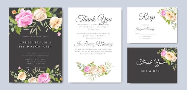 Пригласительная открытка с красивыми желтыми и розовыми розами шаблон Premium векторы
