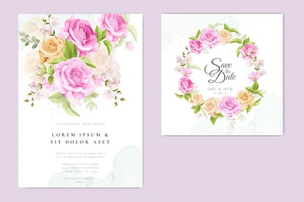 Свадебное приглашение с желтыми и розовыми розами Premium векторы