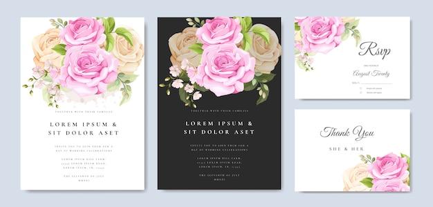 黄色とピンクのバラのテンプレートと結婚式の招待カード Premiumベクター