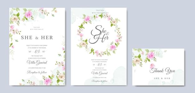 美しい花と葉のテンプレートと結婚式の招待カード Premiumベクター
