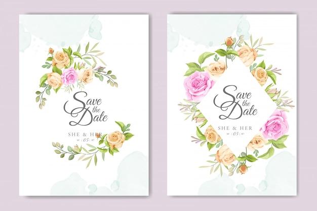 Пригласительная открытка с красивым цветочным шаблоном Premium векторы