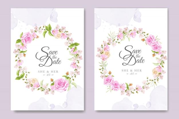 Красивая пригласительная открытка с красочными цветочными и листьями шаблон Premium векторы