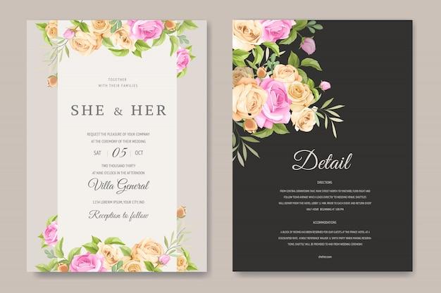 美しいバラのテンプレートとの結婚式の招待カード Premiumベクター