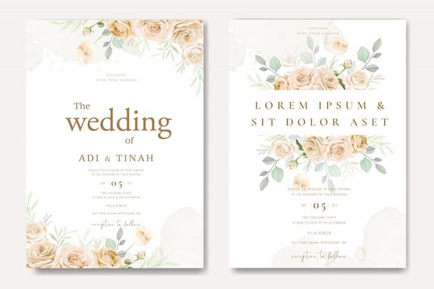 白と黄色のバラの美しい結婚式の招待カードテンプレート Premiumベクター