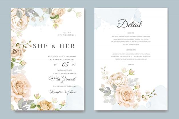 花のテンプレートと結婚式の招待カード Premiumベクター