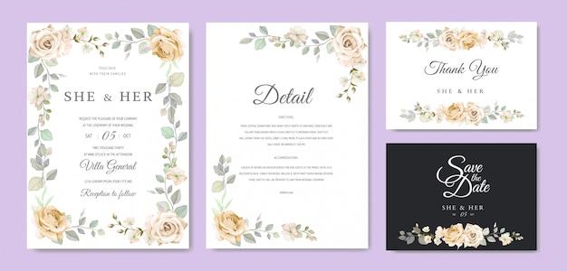 美しい花のフレームの結婚式の招待状 Premiumベクター