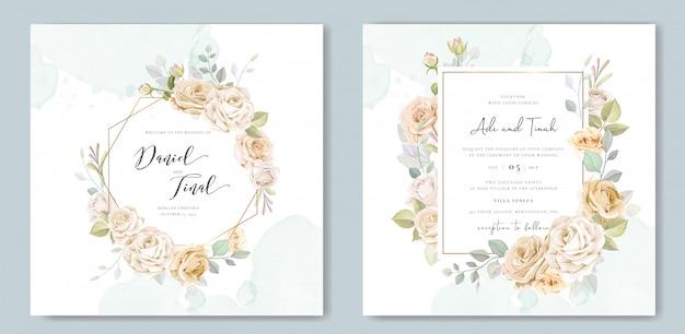 Красивая цветочная рамка свадебное приглашение Premium векторы