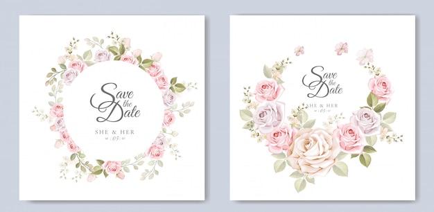 美しい花のテンプレートと結婚式の招待カード Premiumベクター