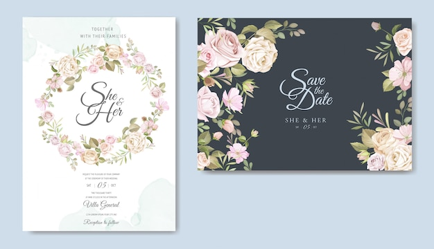 美しい結婚式の招待カードのテンプレート Premiumベクター