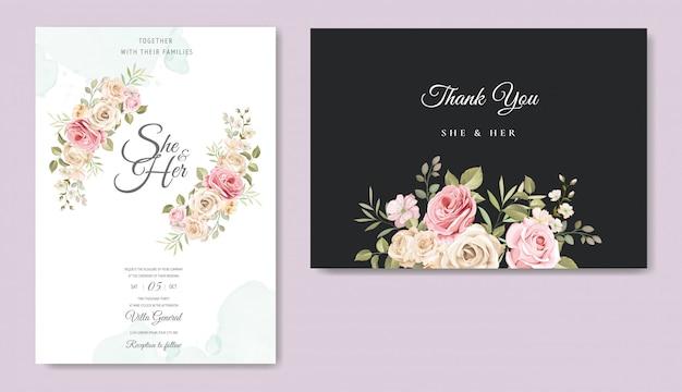 Красивый шаблон приглашения на свадьбу Premium векторы