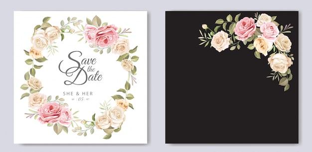 Красивая свадебная пригласительная открытка с цветочным шаблоном Premium векторы