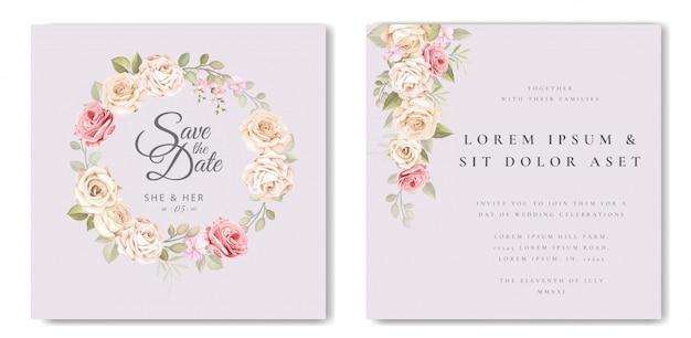 花と葉のテンプレートと美しいウェディングカード Premiumベクター